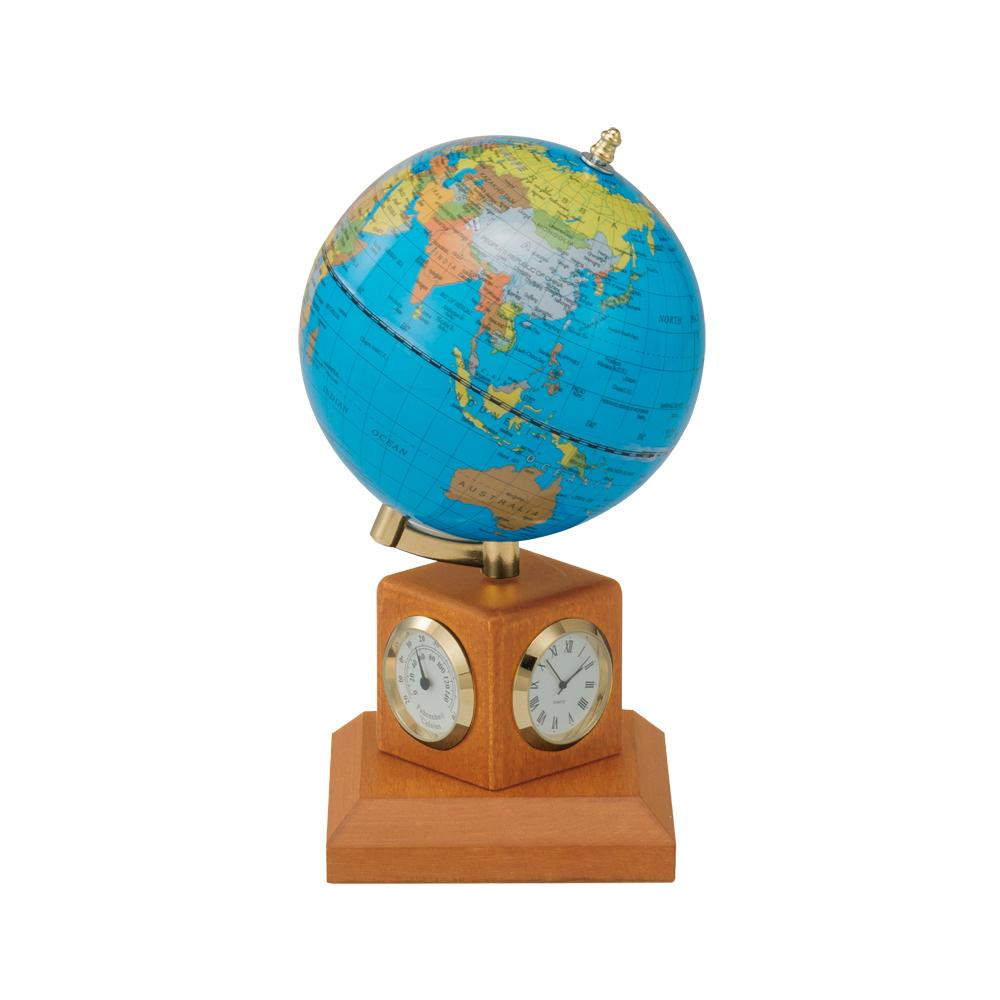 Глобус 10,6 см BLUE на деревянной подставке и метеостанцией . Цвет Светлая Вишня