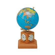 Глобус 10,6 см BLUE на дерев'яній підставці і метеостанцією . Колір Світла Вишня