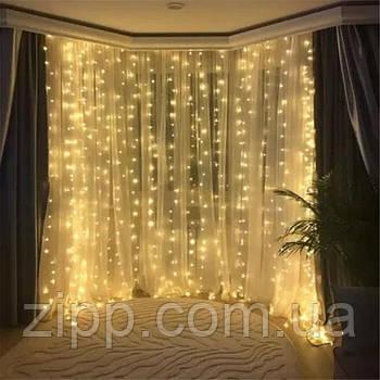 Светодиодная гирлянда Штора Водопад 3х2,5 480 LED Теплый Новогодний Занавес с эффектом дождя на окно Лед 480-W