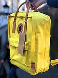 Модный женский рюкзак канкен Fjallraven Kanken classic №2 желтый с коричневыми ручками 16 л., фото 2