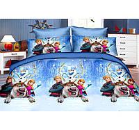 Детская постель Холодное Сердце. Полуторный Комплект детского постельного белья. Ткань Бязь, Коттон