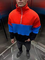 Толстовка - мужская толстовка телпая оверсайз красная