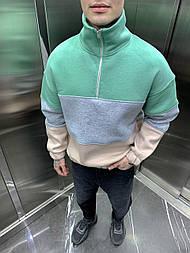 Толстовка - мужская толстовка телпая оверсайз зеленая