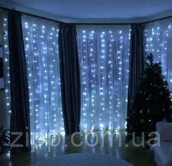 Светодиодная гирлянда Штора Водопад 3х2,5 480 LED Белый Новогодний Занавес с эффектом дождя на окно Лед 480-W