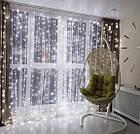 Светодиодная гирлянда Штора Водопад 3х2,5 480 LED Белый Новогодний Занавес с эффектом дождя на окно Лед 480-W, фото 5