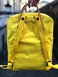 Молодежный женский рюкзак сумка Fjallraven Kanken classic №2 канкен желтый с коричневыми вставками 16 л., фото 3