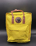 Молодежный женский рюкзак сумка Fjallraven Kanken classic №2 канкен желтый с коричневыми вставками 16 л., фото 5