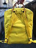 Молодежный женский рюкзак сумка Fjallraven Kanken classic №2 канкен желтый с коричневыми вставками 16 л., фото 9
