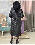 Куртка женская зимняя длинная Цвет : черный, фото 6
