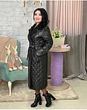 Куртка женская зимняя длинная Цвет : черный, фото 7