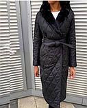 Куртка женская зимняя длинная Цвет : черный, фото 4