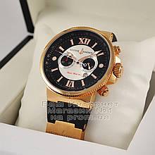 Мужские наручные часы Ulysse Nardin Maxi Marine Collection Blue Seal Chronograph копия Black Gold реплика