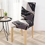 Универсальные натяжные декоративные чехлы накидки на стулья со спинкой для кухни турецкие Серые Абстракция 6, фото 2