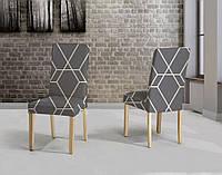 Чехлы на стулья без оборки Серый из велюрового трикотажа с 6 штук Турция Karna