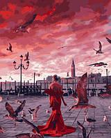 Картина по номерам 40×50 см Babylon Девушка в алом платье в Венеции (VP 1336)