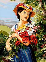 Картина по номерам 30×40 см Babylon Девушка с цветами (VK 255)