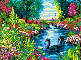 Картина по номерам 30×40 см Babylon Черные лебеди в цветах (VK 264)
