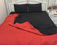Льняная постель комплект 172х205 см KonopliUA Красно-черный 1-123, КОД: 1529565