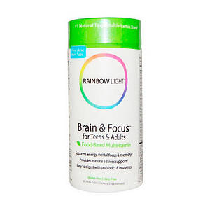 Витамины для мозга подростков Rainbow Light Brain & Focus for Teens & Adults 90 mini-tabs