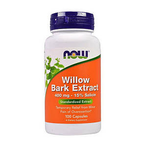 Экстракт коры ивы NOW Willow Bark Extract 400 mg 100 caps