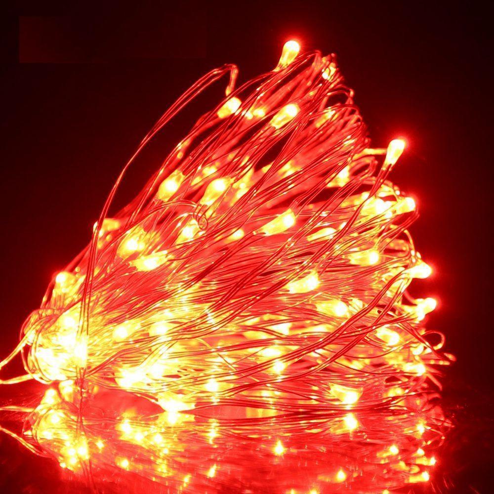 Светодиодная гирлянда LTL Капля росы длина 10м 100led Красная Red батарейки