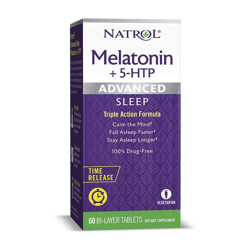 Мелатонин Natrol Melatonin + 5-htp 60 bi-layer tab