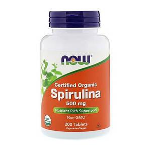 Органическая спирулина NOW Spirulina 500 mg certified organic 200 tabs