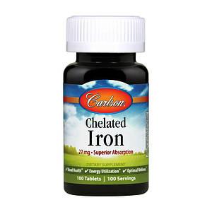 Хелат железа Carlson Labs Chelated Iron 27 mg 100 tabs