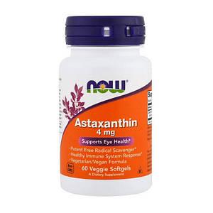 Астаксантин NOW Astaxanthin 4 mg 60 veg softgels