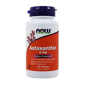 Астаксантин NOW Astaxanthin 4 mg 90 softgels