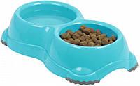 H107026 Moderna Smarty Bowl Двойная пластиковая миска,2х650 мл, серый