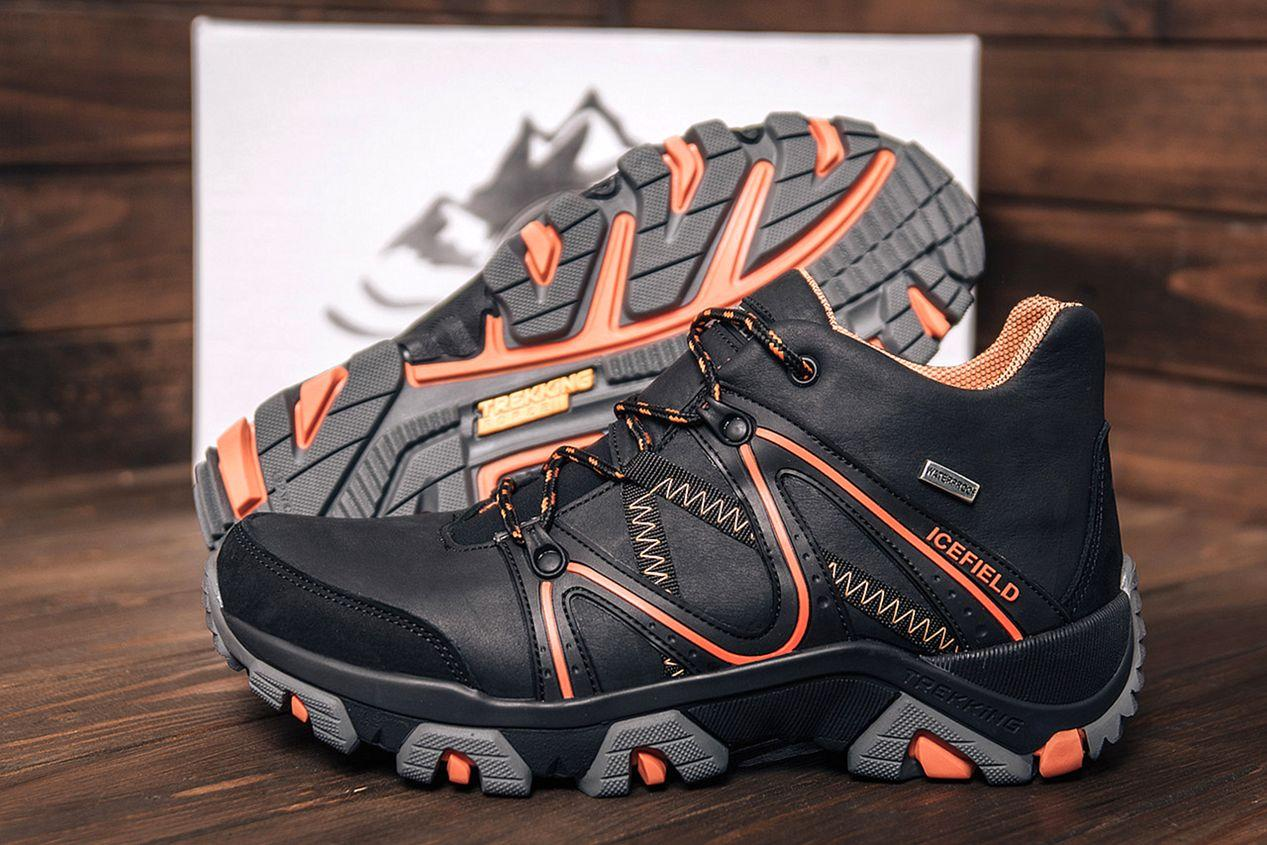 Мужские черные зимние кожаные ботинки