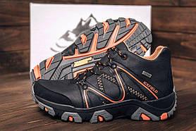 Чоловічі чорні зимові шкіряні черевики
