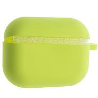 Силиконовый чехол Aare Silicone Case с карабином для наушников AirPods Pro Ярко-желтый 00007692, КОД: 1529491