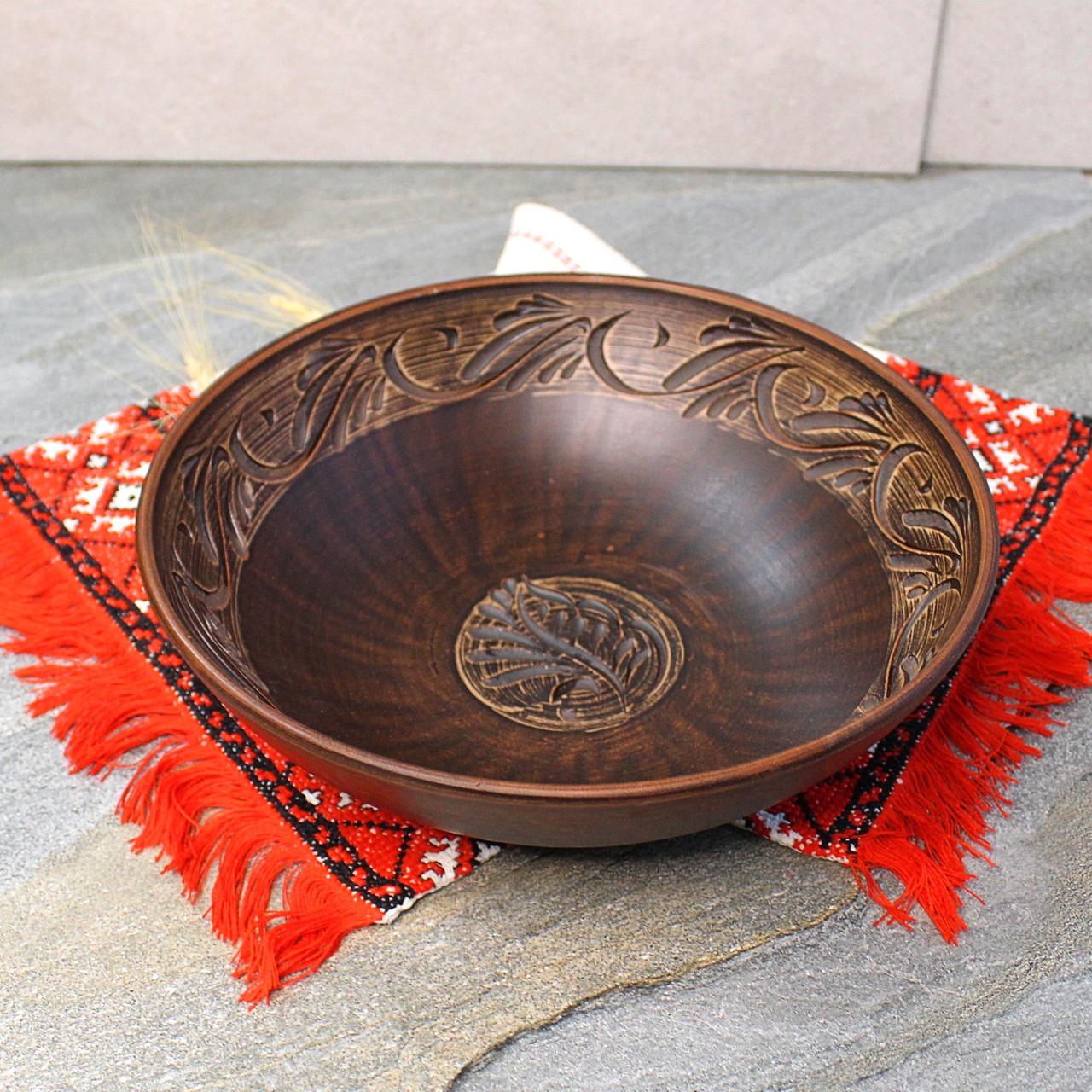 Макітра мала з різкою з червоної глини 25 см 1.4л, український виробник