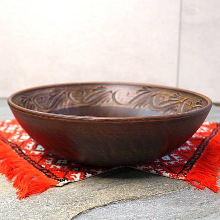 Макітра мала з різкою з червоної глини 25 см 1.4л, український виробник, фото 2