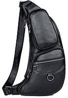 Сумка для мужчин слинг через плечо в гладкой коже Vintage 20204 Черная, фото 1