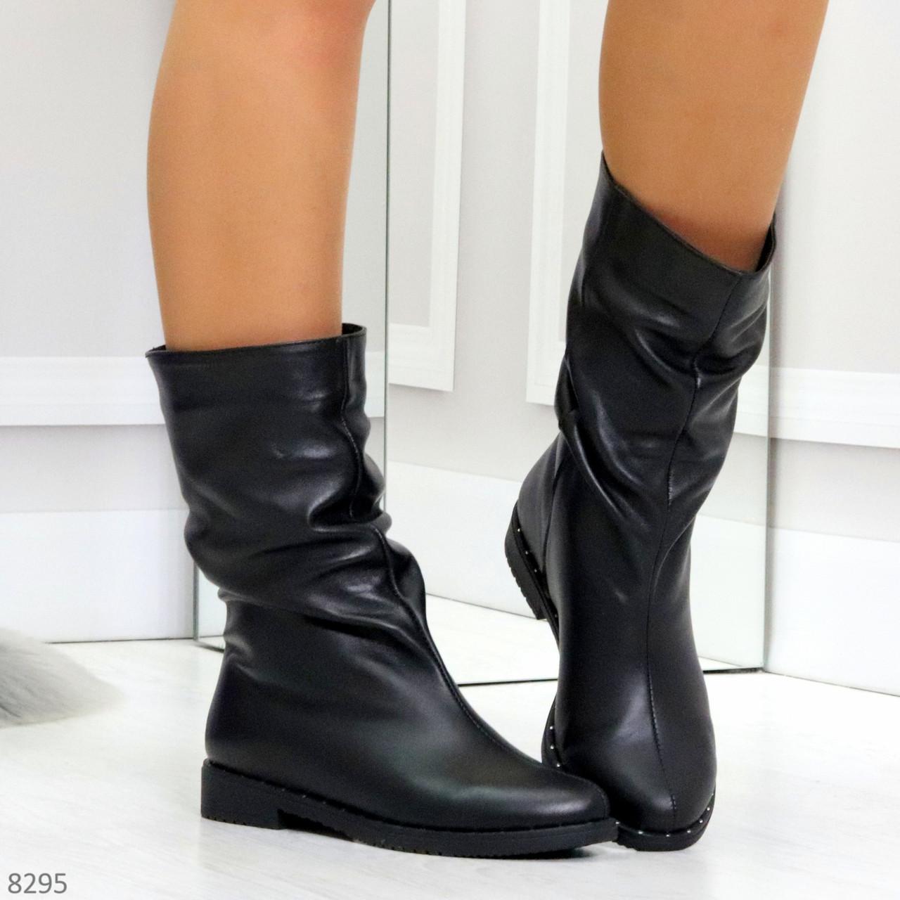 Элегантные черные зимние женские сапоги из натуральной кожи низкий ход 38-24,5см