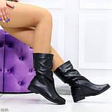 Элегантные черные зимние женские сапоги из натуральной кожи низкий ход 38-24,5см, фото 2