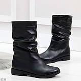 Элегантные черные зимние женские сапоги из натуральной кожи низкий ход 38-24,5см, фото 4