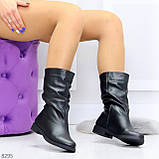 Элегантные черные зимние женские сапоги из натуральной кожи низкий ход 38-24,5см, фото 7