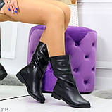 Элегантные черные зимние женские сапоги из натуральной кожи низкий ход 38-24,5см, фото 8