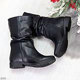 Элегантные черные зимние женские сапоги из натуральной кожи низкий ход 38-24,5см, фото 10