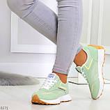Мятные ментоловые текстильные женские замшевые кроссовки с рефлективными вставками, фото 3