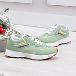Мятные ментоловые текстильные женские замшевые кроссовки с рефлективными вставками, фото 4