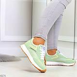 Мятные ментоловые текстильные женские замшевые кроссовки с рефлективными вставками, фото 6