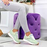Мятные ментоловые текстильные женские замшевые кроссовки с рефлективными вставками, фото 7