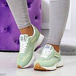 Мятные ментоловые текстильные женские замшевые кроссовки с рефлективными вставками, фото 8