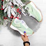Мятные ментоловые текстильные женские замшевые кроссовки с рефлективными вставками, фото 9