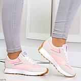 Розовые серые текстильные женские замшевые кроссовки с рефлективными вставками 40-25см, фото 2